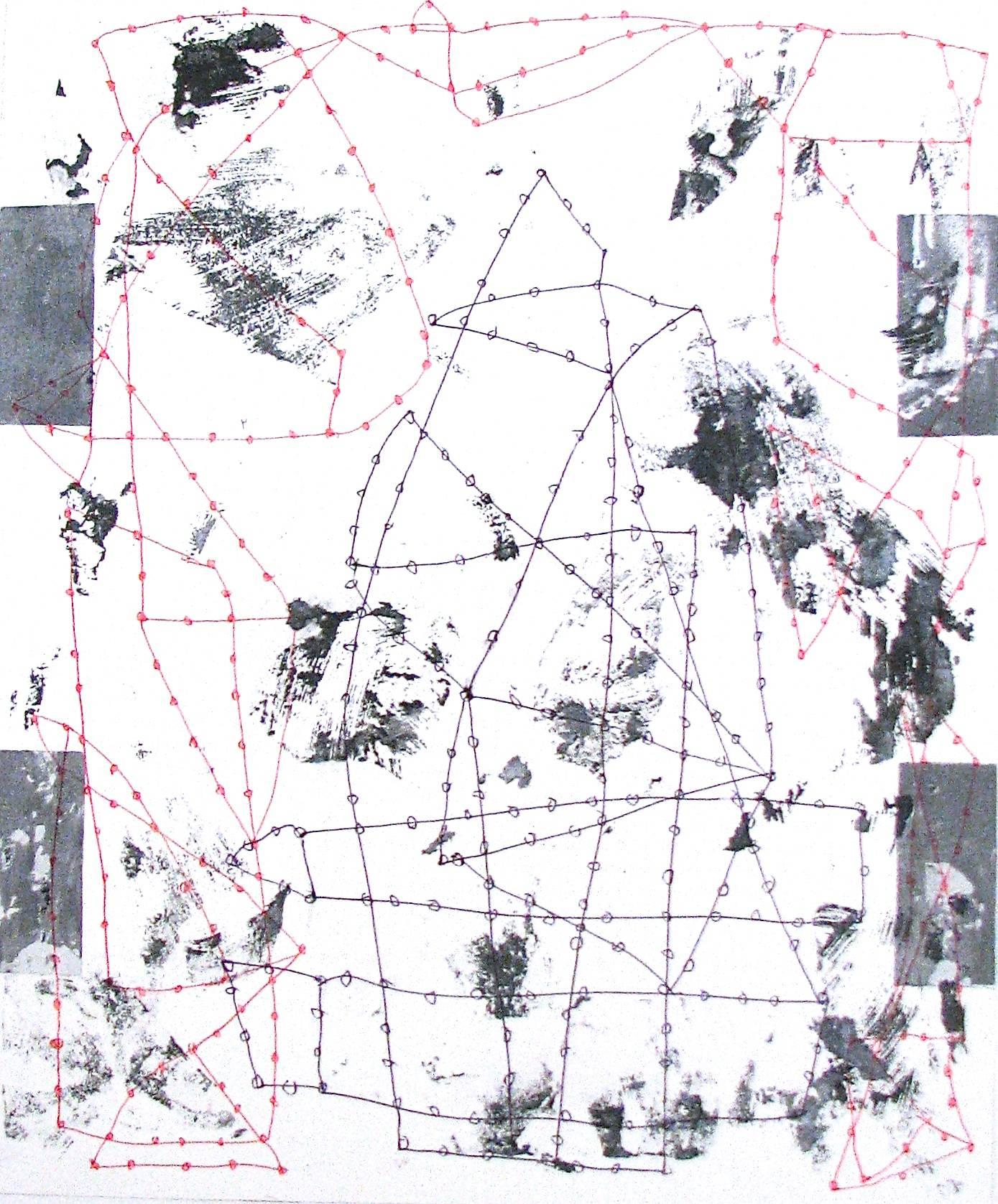 """""""In Every Direction 3"""" Abstract Modern Black White Red Mixed Media Geometric"""
