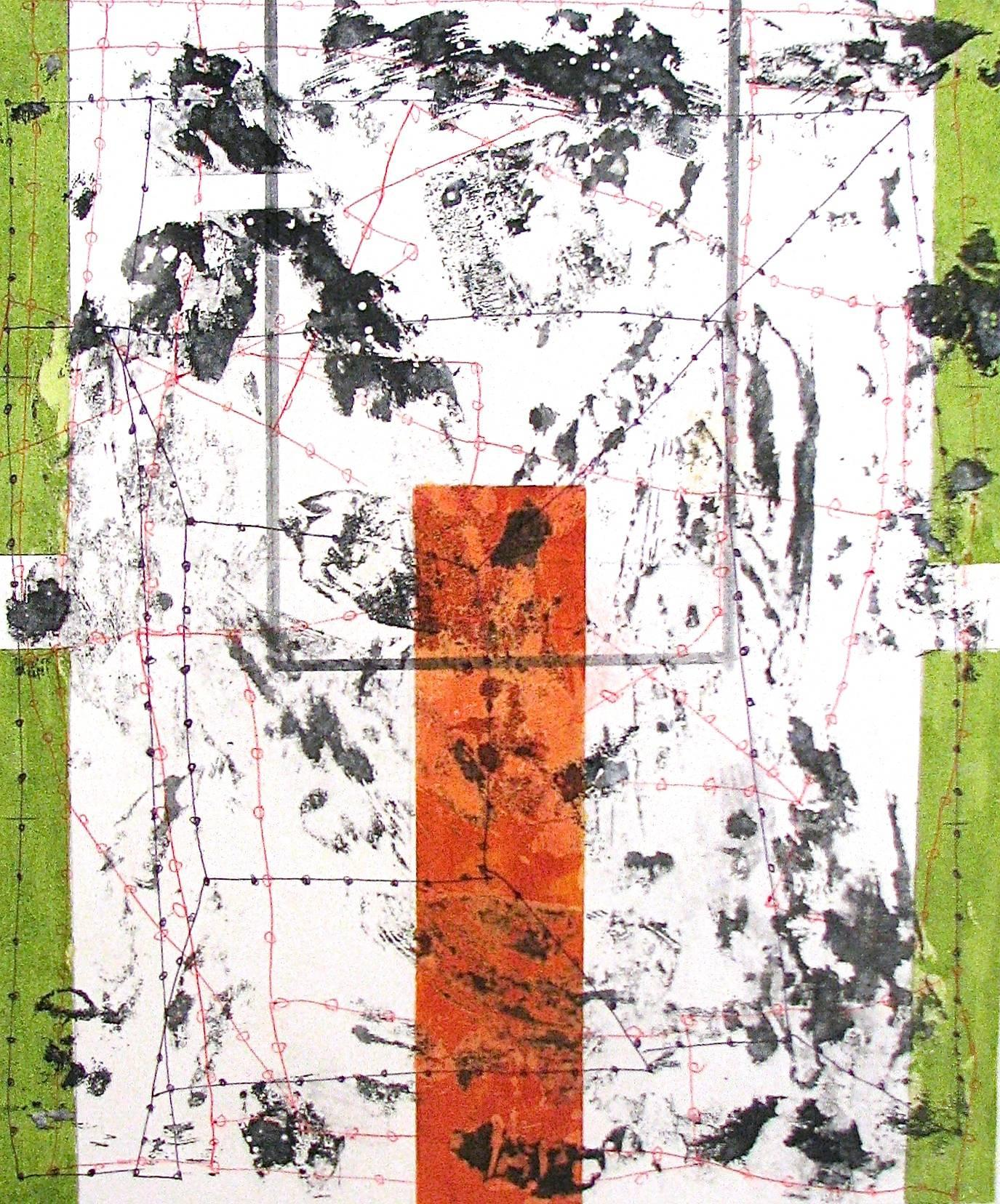 """""""In Every Direction 7"""" Abstract Geometric Green Red Black Mixed Media"""