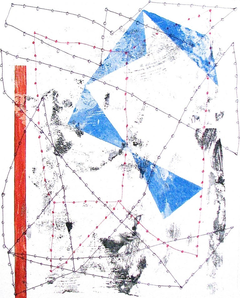 """Nancy Berlin Abstract Drawing - """"Changing Perceptions 2"""" Abstract Geometric Red White Blue Playful Mixed Media"""