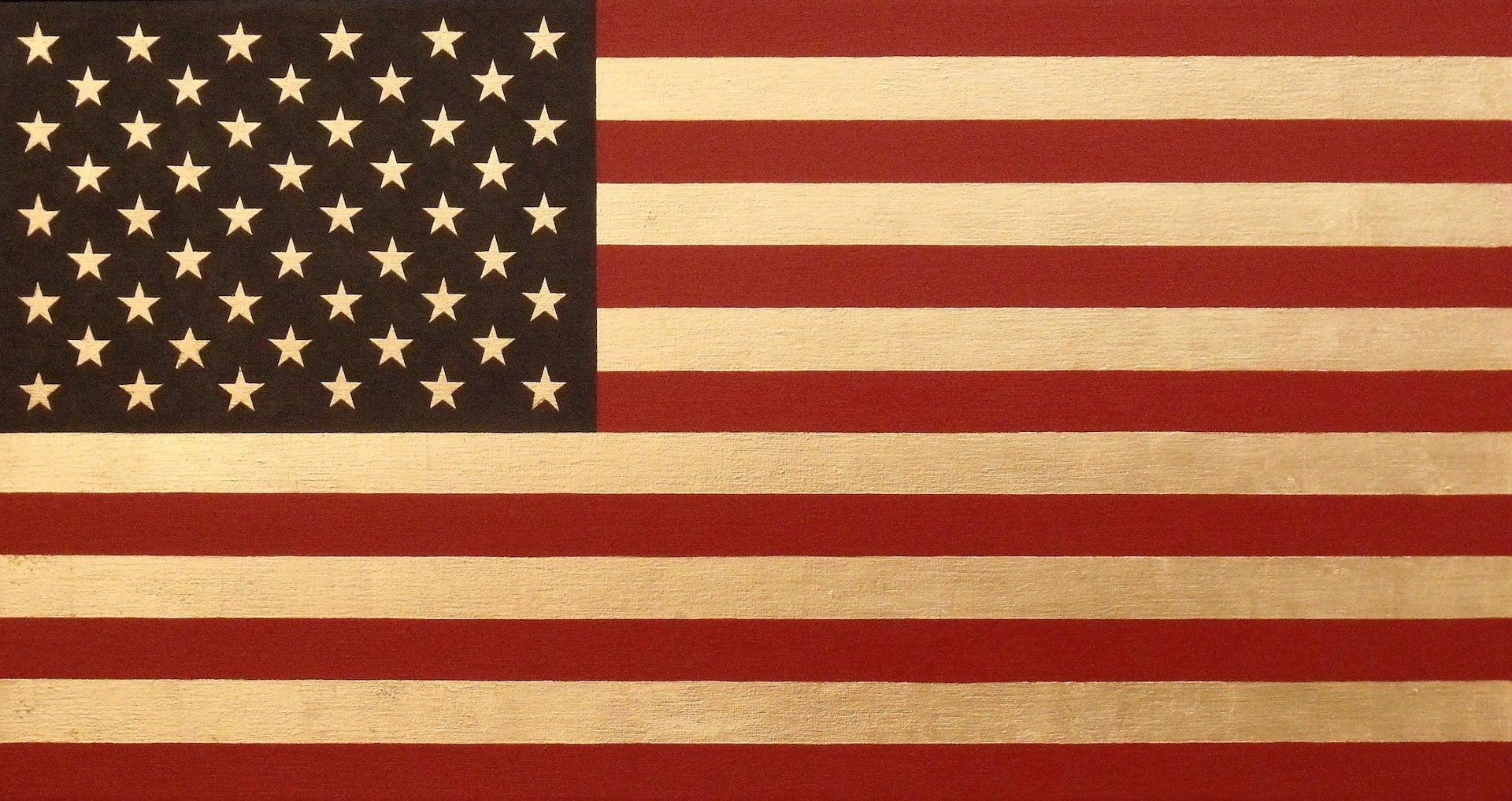 """Stars and Stripes"" Americana Pop 23 Karat Gold Leaf/Red/Blue Oil, Flag Painting"