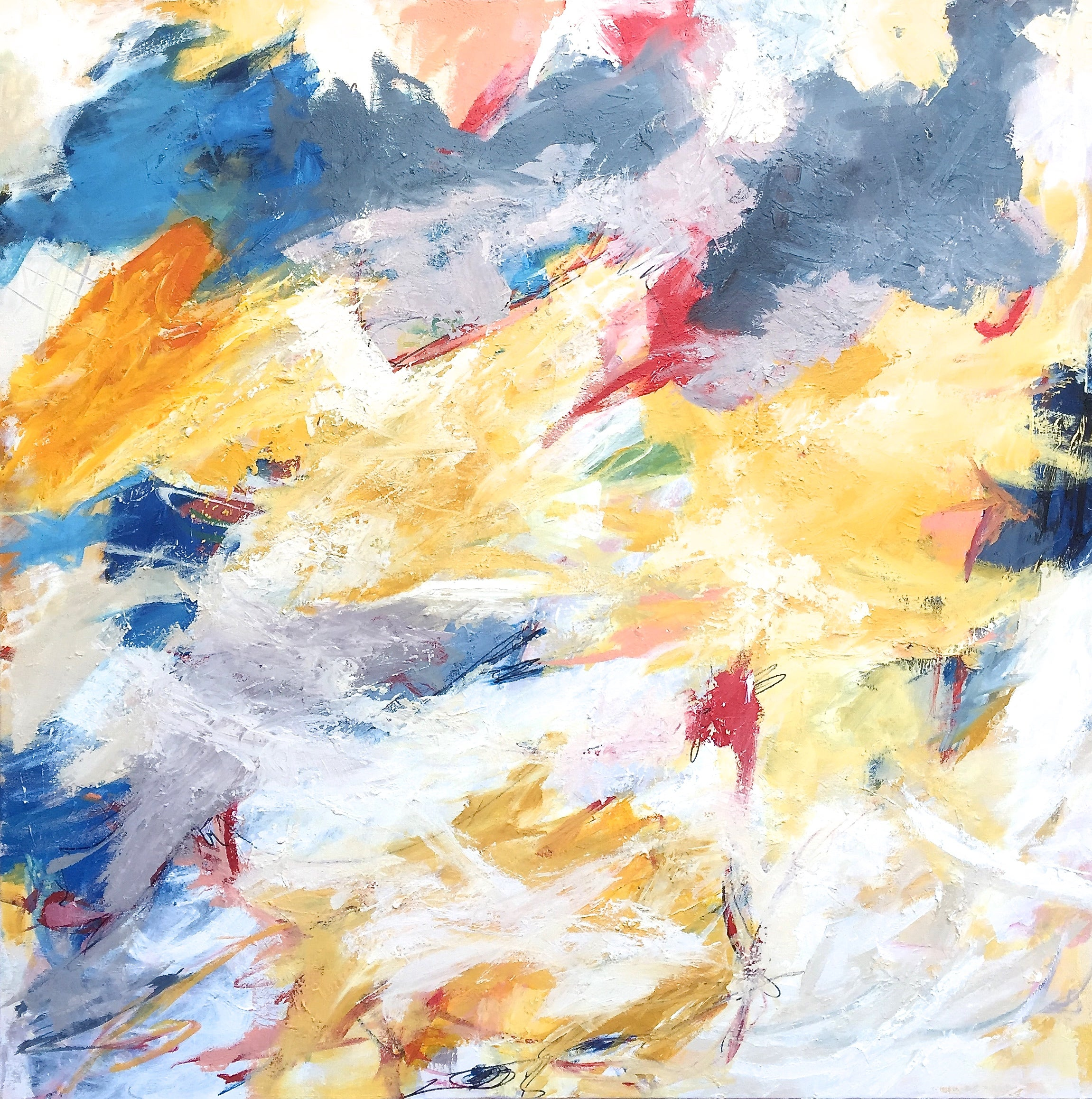 """""""Either Way"""" Expressionis Abstraction in White, Burgundy, Blue, Yellow, Lavender"""