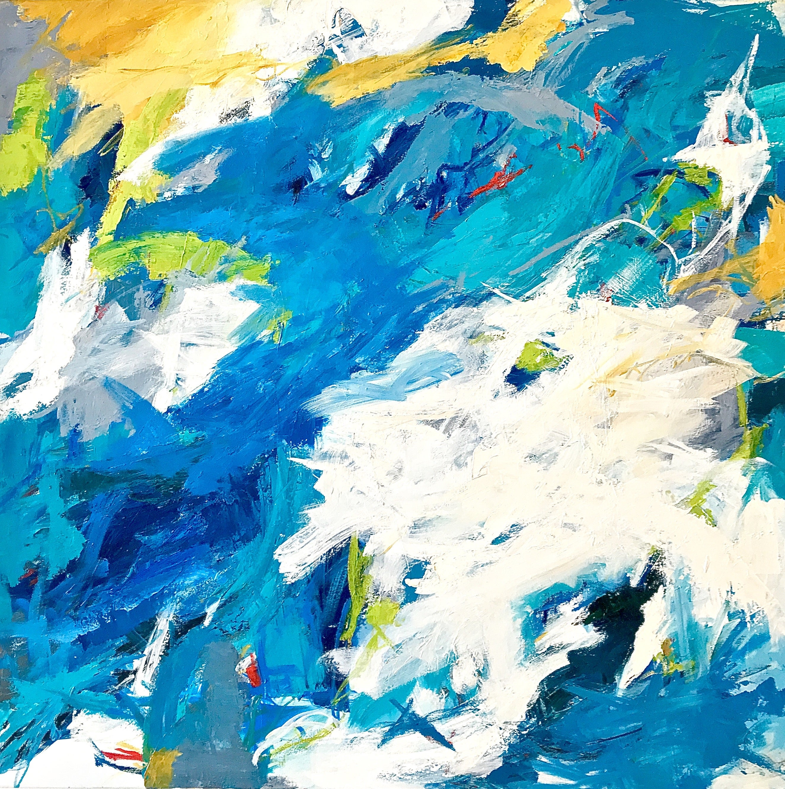 """""""Gulf Stream Waters""""  Large Colorful Expressionist Abstraction Blues/Green/White"""