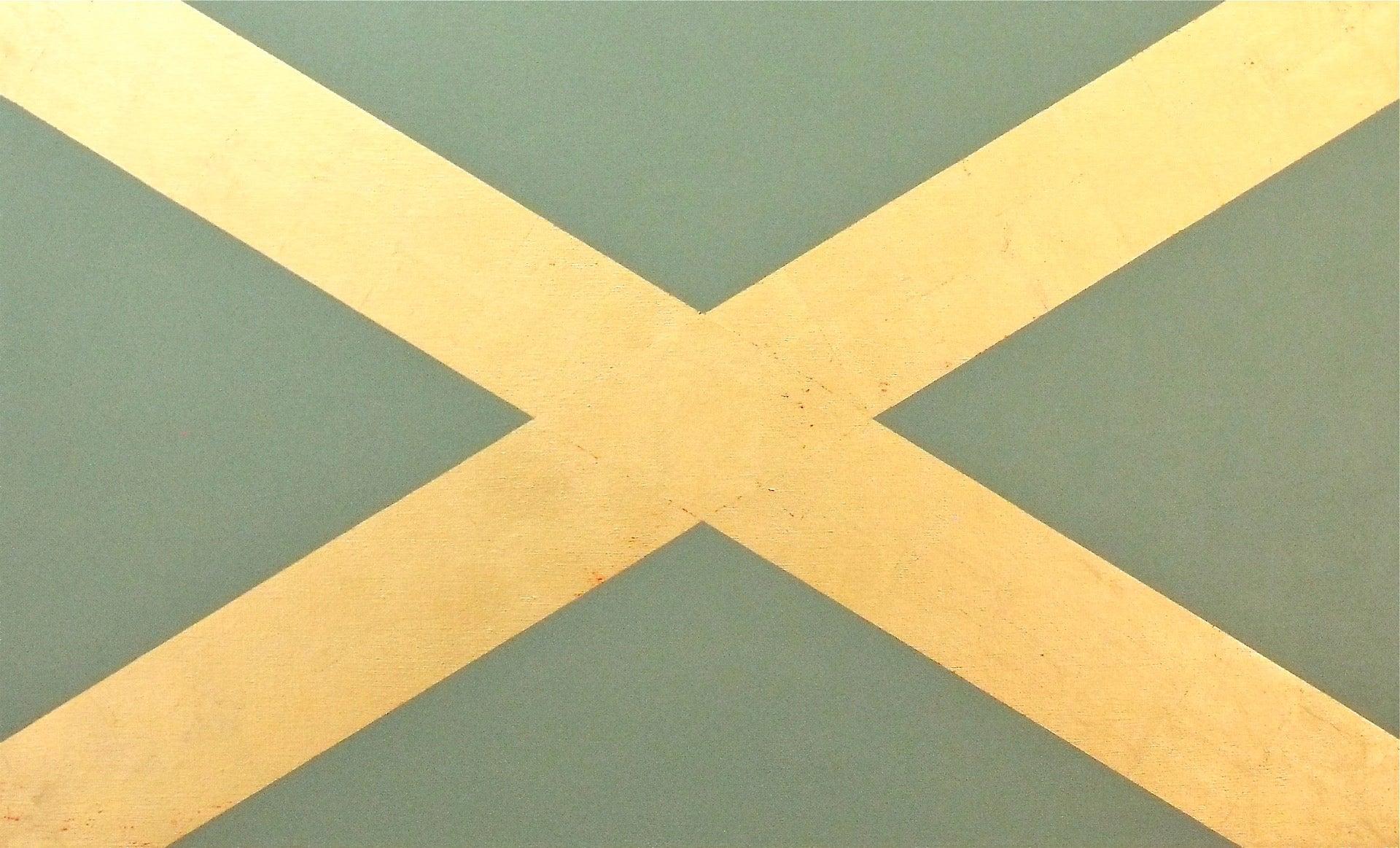 """Saltaire""  Minimal Scottish Flag Geometric  Pop  Sage Green  23K Gold Leaf/Oil"