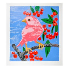 Pink Bird with Cherries (Blue)