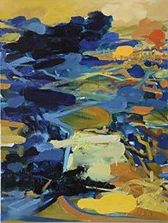 Golden Valley gold blue Asian landscape abstract