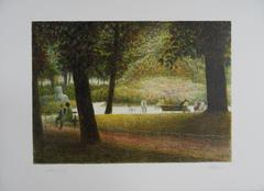 Central Park Views : A Break - Original handsigned lithograph