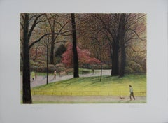 Central Park Views : A Walk With The Dog - Original handsigned lithograph