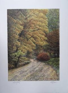 Central Park Views : Mom and Child - Original handsigned lithograph