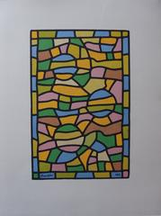 Stained Glass With Three Suns - Original signed lithograph