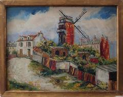 Montmartre : Le Moulin de la Galette - Original handsigned oil on board - C 1948