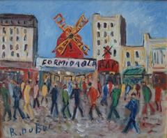 Paris : In Front of the Moulin Rouge - Original Oil on Canvas - Signed