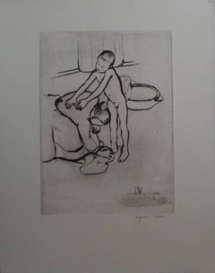 Catherine and a young boy - Original handsigned etching - 75 copies