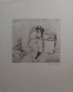 Nude Catherine combing her hair - Original handsigned etching - 75 copies