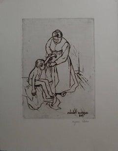 Grandmother and Child - Original handsigned eching - 75 copies