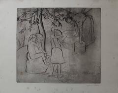 Children's Bath in the Garden - Original handsigned etching - 75 copie