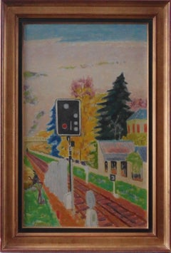 Railway : The Signal - Original oil on canvas - Signed