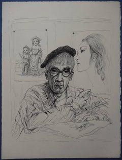 Selfportrait with Kimiyo - Original etching (Buisson #51.176)