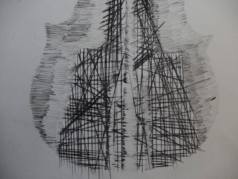 Violin and scrolls - Original etching - 75 copies - Gray Figurative Print by Fernandez Arman