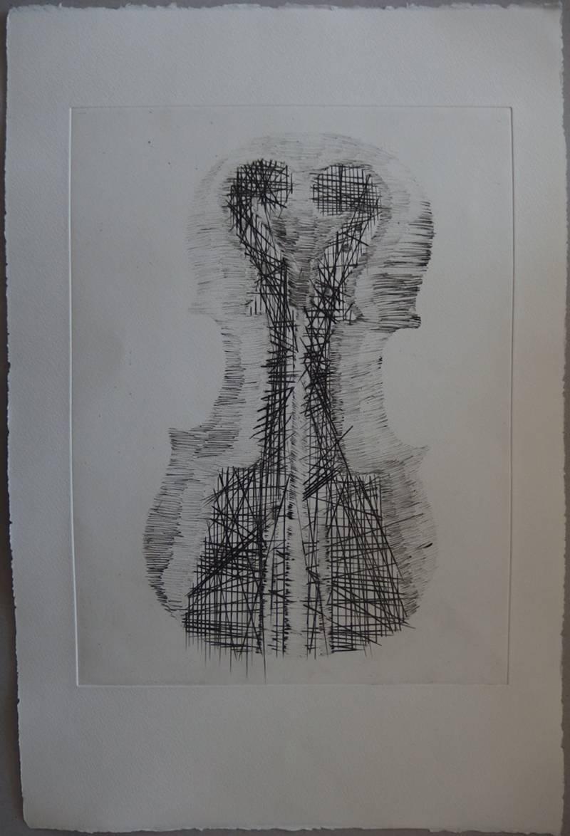 Violin and scrolls - Original etching - 75 copies