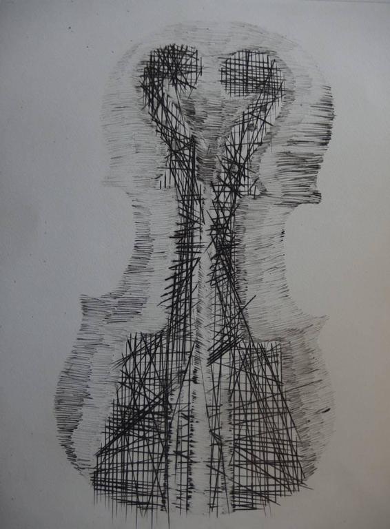 Violin and scrolls - Original etching - 75 copies - Print by Fernandez Arman