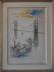 Golden Gate Bridge San Francisco - Original etching handpainted & signed #UNIQUE