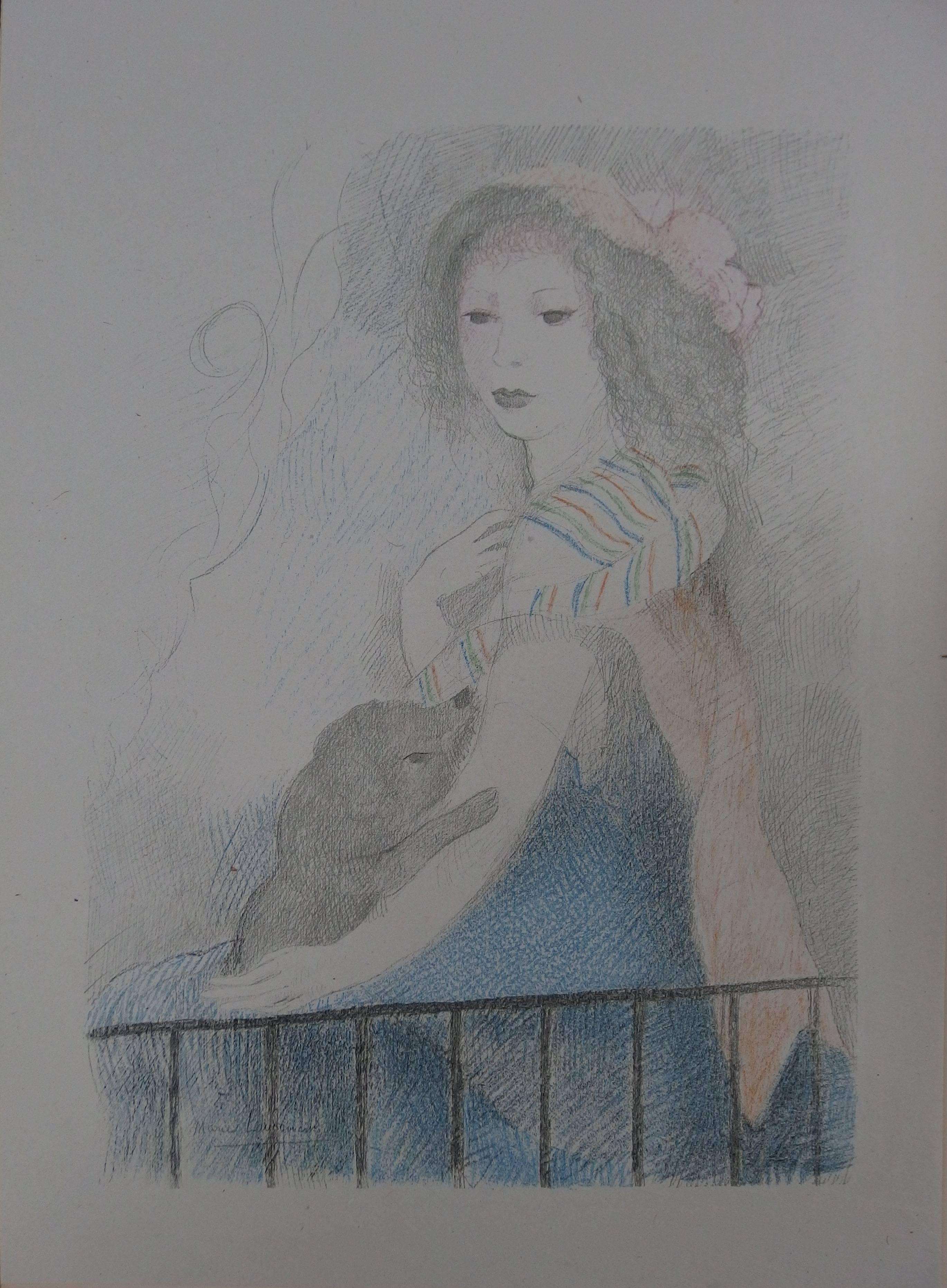 Selfportrait with a Baby Dog - Signed Stone Lithograph - 1928