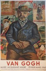Father Tanguy (portrait) with Japanese background, lithograph (1960)