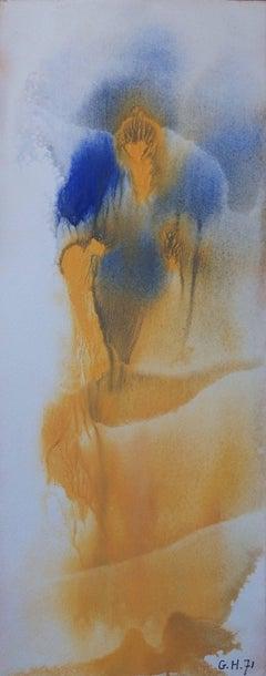 Yellow Dress - Original handsigned gouache