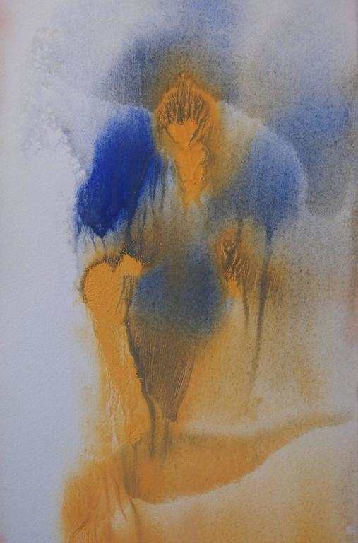 Yellow Dress - Original handsigned gouache - Abstract Art by Georges Hugnet