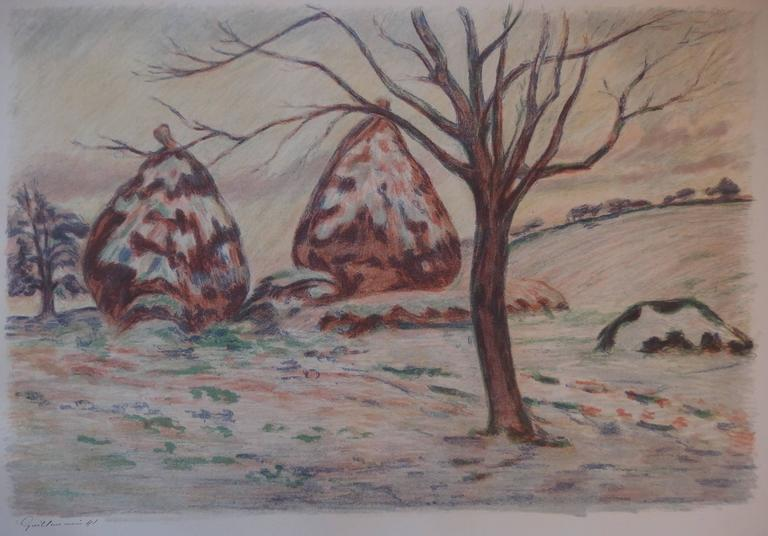 Haystacks near Palaiseau - Original handsigned lithograph - 100 copies - Post-Impressionist Print by Armand Guillaumin