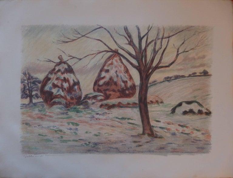 Armand Guillaumin Landscape Print - Haystacks near Palaiseau - Original handsigned lithograph - 100 copies