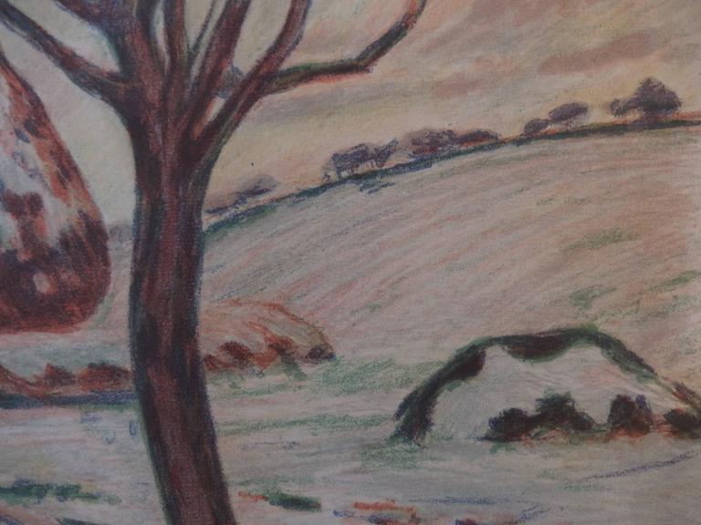 Haystacks near Palaiseau - Original handsigned lithograph - 100 copies - Gray Landscape Print by Armand Guillaumin