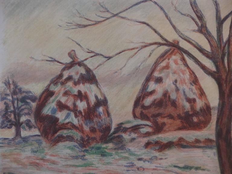 Haystacks near Palaiseau - Original handsigned lithograph - 100 copies For Sale 1