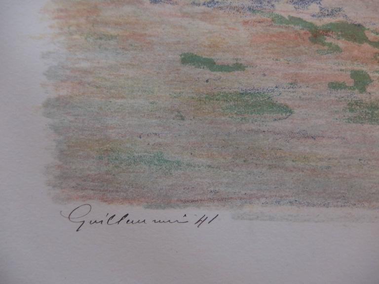 Haystacks near Palaiseau - Original handsigned lithograph - 100 copies - Print by Armand Guillaumin
