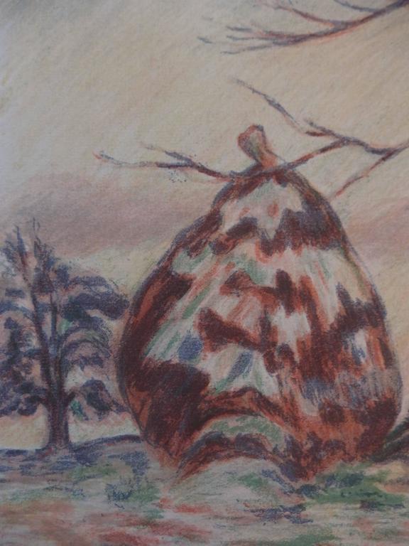 Haystacks near Palaiseau - Original handsigned lithograph - 100 copies For Sale 2