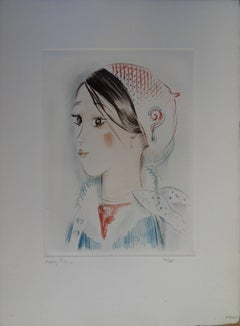 Young girl with ? - Original etching, handsigned