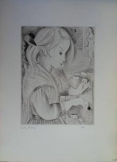 Dominoes - Original etching, handsigned