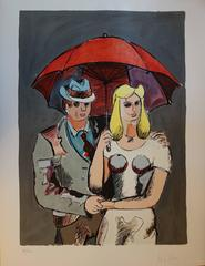 Hat Man and Blond Hair girl with Red Umbrella - Original handsigned lithograph