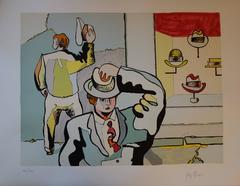 In the Hats Shop - Original handsigned lithograph - 100 copies