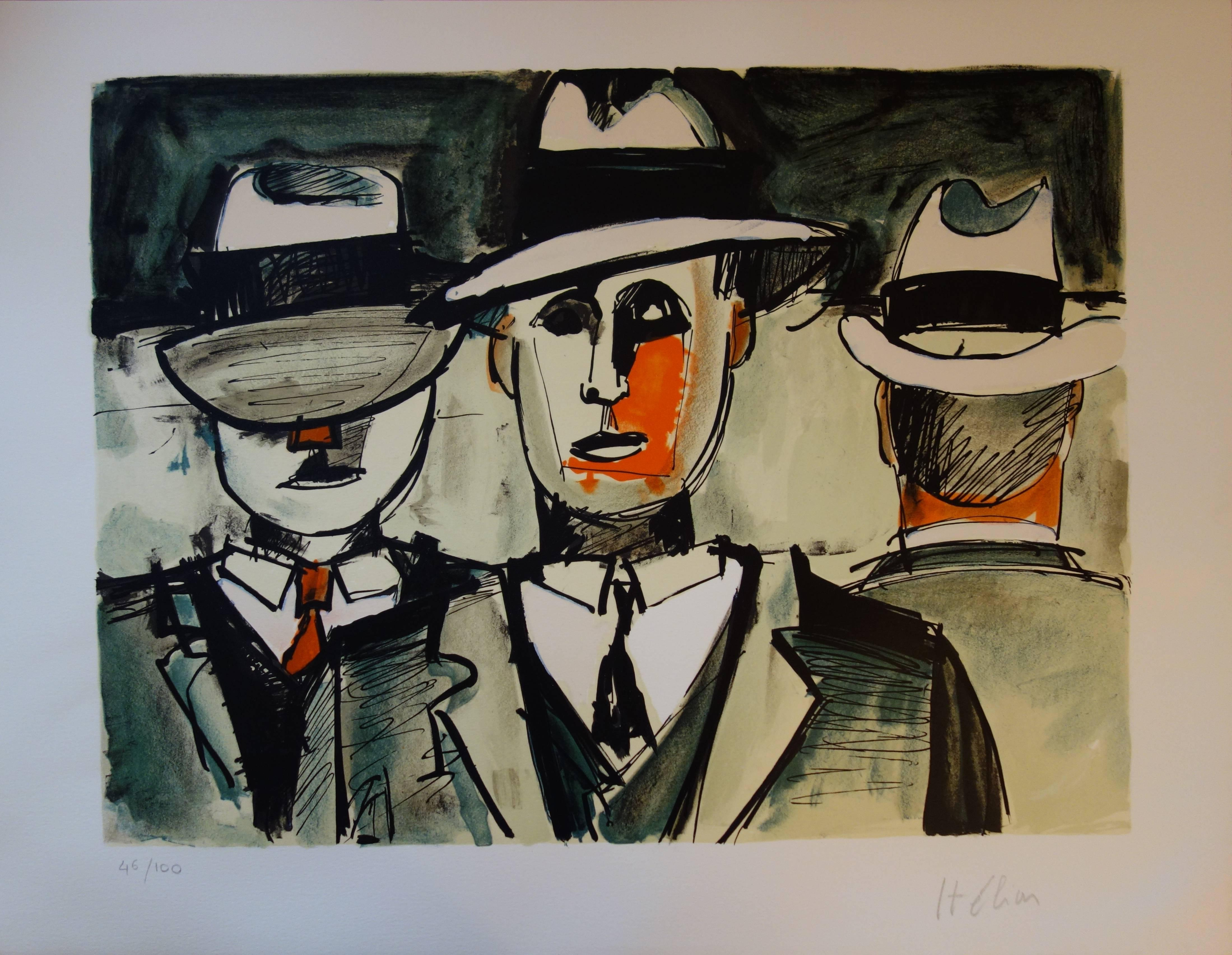 Three American Gangsters - Original handsigned lithograph - 100 copies