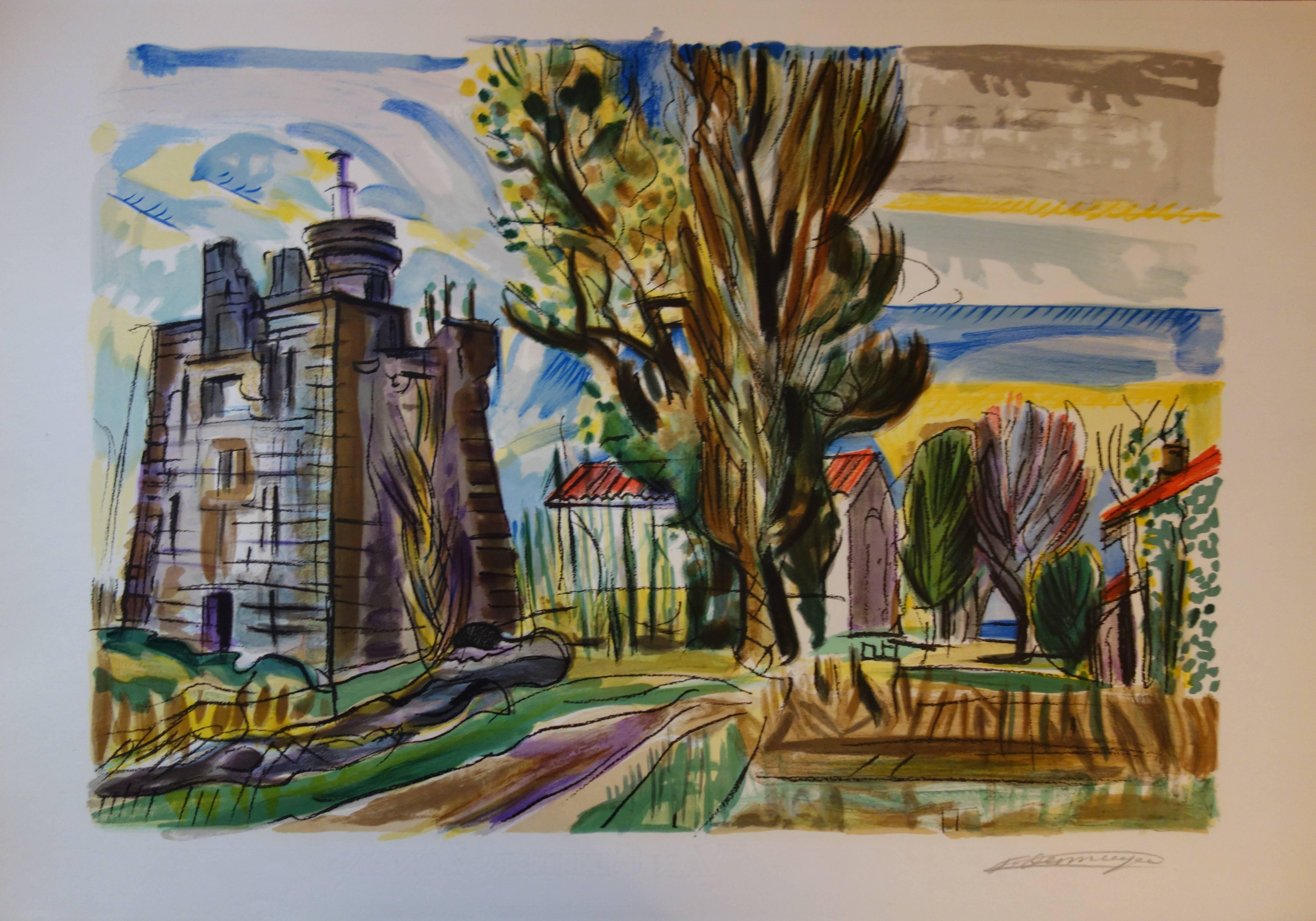 Old Castle in the South of France - Original handsigned lithograph