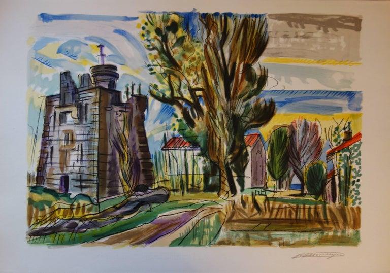 François Desnoyer Landscape Print - Old Castle in the South of France - Original handsigned lithograph