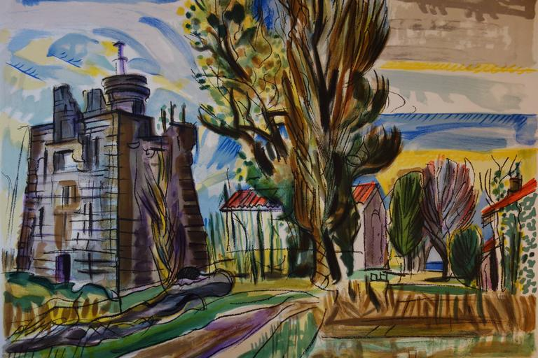 Old Castle in the South of France - Original handsigned lithograph - Post-Impressionist Print by François Desnoyer