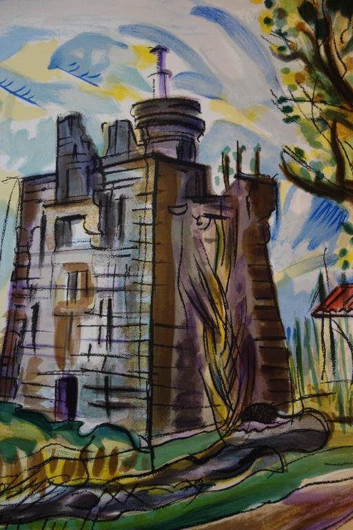 Old Castle in the South of France - Original handsigned lithograph - Gray Landscape Print by François Desnoyer