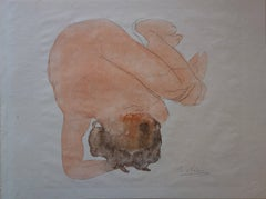 Woman on the ground (1920) - stencil, plate signed
