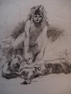 Young Girl with the Cats - Original handsigned etching - 30 copies