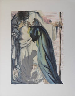 Purgatory 14 - A Spirit questions Dante -  woodcut - 1963
