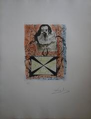 Portrait aux signatures-Original etching, stencil and aquatint, Handsigned, 1973