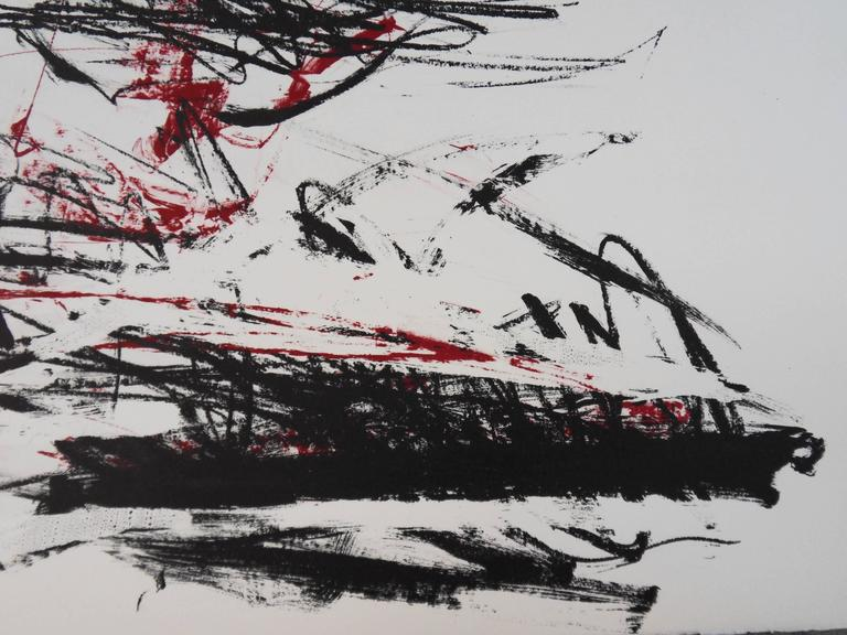 Trees in Red - Original handsigned lithograph - 125 copies - Abstract Print by Joan Mitchell