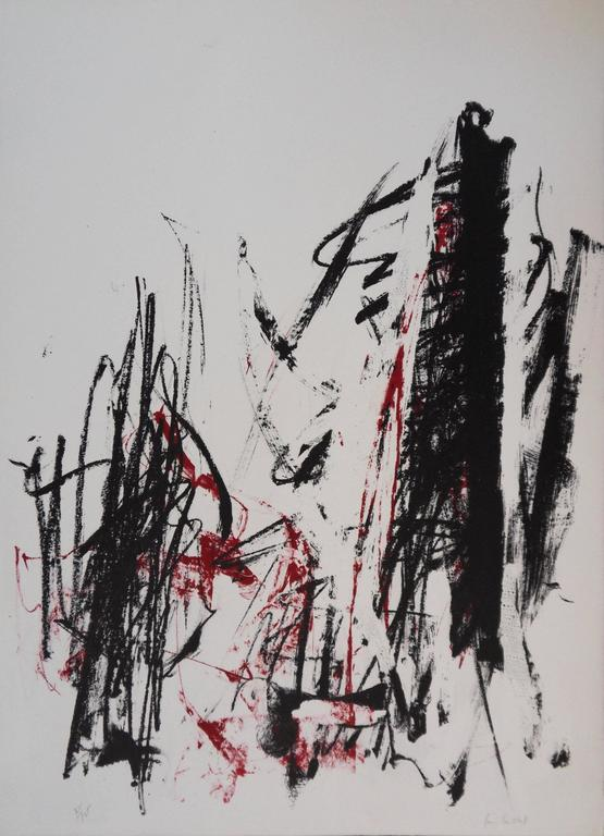 Joan Mitchell Abstract Print - Trees in Red - Original handsigned lithograph - 125 copies